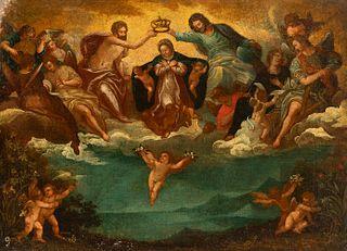 "Spanish or Italian school; 17th century. ""Coronation of the Virgin"" Oil on canvas. Relined It presents restorations."