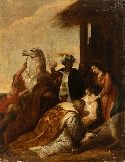 """Genoese school; 17th century. Circle of VALERIO CASTELO (Genoa, 1624-17 February 1659). """"The Adoration of the Magi"""". Oil on canvas. Relined in the 19t"""