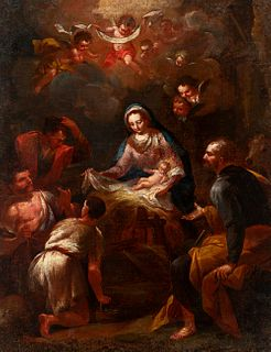 """Italian school; 18th century. """"Adoration of the Shepherds"""". Oil on canvas. Relined."""