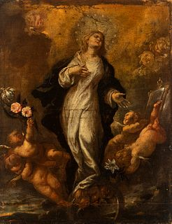 """Neapolitan school; late 17th century. """"Immaculate Conception"""". Oil on canvas. Relined."""