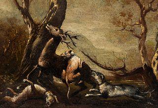 "Spanish or Italian school; second half of the 17th century. ""Hunting"". Oil on panel."