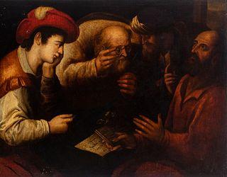 "Italian school; 17th century. ""San Mateo's vocation"". Oil on canvas. Relined."
