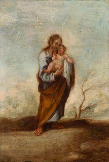 "Spanish school; 18th century. ""San Jose with Child"". Oil on bronze."