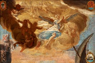 """Spanish school; second half of the 18th century. """"Allegory"""". Oil on canvas. Relined."""