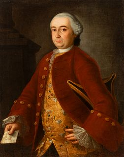 """Spanish school; circa 1760- 1770. """"Portrait of a gentleman. Oil on canvas. Relined"""