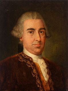 """Spanish school; circa 1780. """"Portrait of a gentleman. Oil on canvas. Relined"""