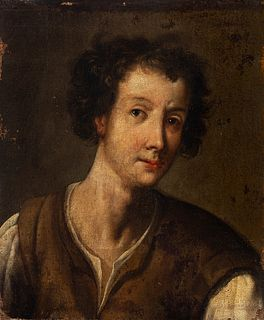 """Spanish school; last quarter of the 17th century. """"Young man"""". Oil on canvas. Relined"""