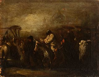 """Attribution to EUGENIO LUCAS VELAZQUEZ (Madrid, 1817-1870) """"Condemned by the Inquisition"""". Oil on canvas."""