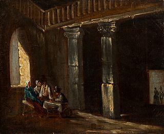 "Spanish school; 1820-1830. ""Tavern"". Oil on canvas."