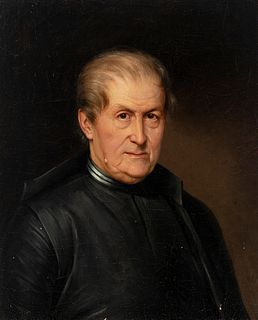 """Spanish school; circa 1820. """"Portrait of a clergyman. Oil on canvas. Relined"""