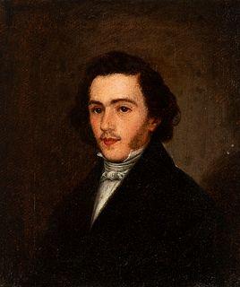 """Former attribution to LEONARDO ALENZA Y NIETO (Madrid, 1807 - 1845). """"Possible portrait of Don Juan José de Jáuregui"""". Signed MDAW Partially illegible"""