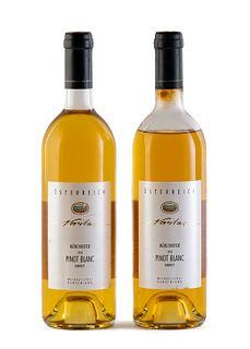 Two Veritas Mönchhofer Kabinett bottles, vintage 1993. WKB Weinkellerei Burgenland. Category: Pinot Blanc white wine. D.A.C. Neusiedlersee (Austria).