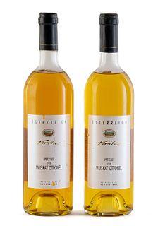 Two Veritas Apetloner bottles, vintage 1993. WKB Weinkellerei Burgenland. Category: Muscat Ottonel white wine. D.A.C. Neusiedlersee (Austria). Level: