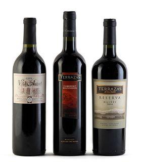 Three bottles: a Terrazas de los Andes, cabernet, 2003 vintage, a Terrazas de los Andes, 2004 malbec and a Villa Atuel, syrah, 1999 vintage. Category: