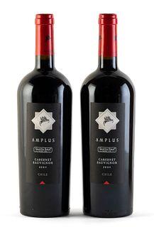 Two Amplus Santa Ema bottles, vintage 2004. Category: red wine, Cabernet Sauvignon. D.O. Valle de Cachapoal. Maipo Island (Chile). Level: A. 750 ml.