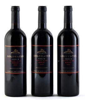 Three Goldwater Esslin bottles, vintage 2002. Goldwater Estate Limited. Category: Merlot red wine. Putiki Bay, Waihake Island (New Zealand). Level: A.