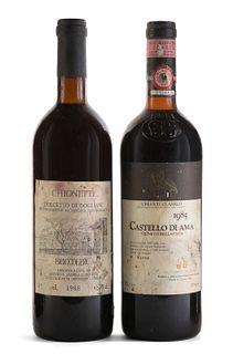Set of two bottles: a Castello Di Ama, Vigneto Bellavista, vintage 1985 and a Chionetti Briccolero, vintage 1988. Category: red wine Sangiovese and Do