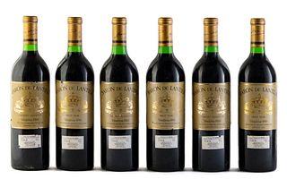 Six Baron De Lantier bottles, 1988 vintage. De Lantier Vinhos Finos Ltda. Category: Cabernet Sauvignon red wine. Garibaldi, Rio Grande do Sul (Brazil)