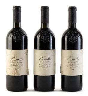 Three Prunotto Occhetti bottles, vintage 1987. Category: red wine. Nebbiolo d´Alba D.O.C., Piedmont (Italy). Level: B. 750 ml.
