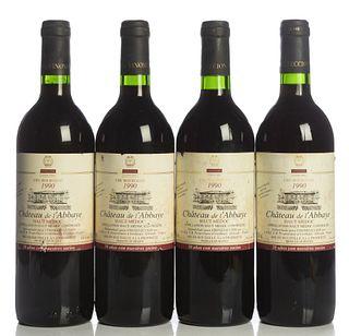 Four bottles Château de L'Abbaye Cru Bourgeois 1990. Category: Red wine. Haut-Médoc. Level: B.