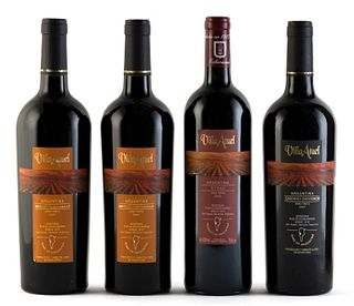 Four Villa Atuel bottles, 2005 and 2007 vintages. Pueyo Echevarria wineries. Category: red wine. San Rafael, Mendoza (Argentina). Level: A. 750 ml.