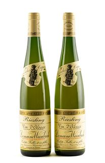 Two bottles of wine Clos des Capucins, 1997. Cuvée Sante Catherine. Category : White Riesling wine from Alsace. Domaine Weinbach in Kaysersberg (Franc
