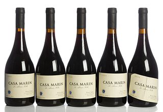 Five bottles Casa Marin-Lo Abarca Hills, vintage 2003. Category: Red wine, Pinot Noir. D.O. San Antonio Valley. Lo Abarca (Chile). Level: A.