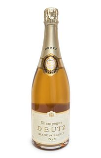 A bottle of Deutz Blanc de Blancs champagne, 1998. Category: brut champagne. A.O.C. Reims.