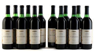 Twelve Catena Reserve Cabernet Sauvignon bottles, vintage 1991. Bodegas Esmeralda Category: red wine. Junín, Mendoza (Argentina). Level: B / C / D. 75