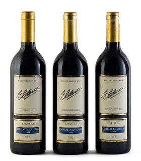 Three Elderton bottles, vintage 1999. Elderton Wines. Category: Cabernet Sauvignon red wine. Nurioopta, Barossa Valley (Australia). Level: A. 750 ml.
