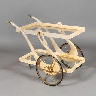 Aldo Tura, Swan Bar Cart, ca. 1960