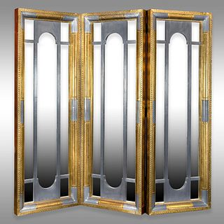 Mid-Century Modern Three Panel Folding Screen Mirror