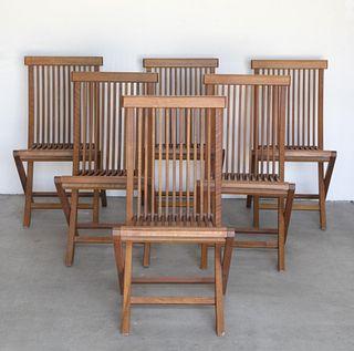 After Hans Wegner, Set of Six Modern Folding Chairs