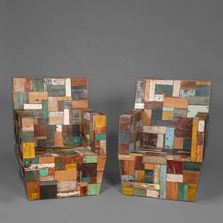 Pair of South American Patchwork Wood Armchairs, 20th Century