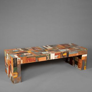 South American Patchwork Wood Table, 20th Century