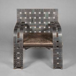Tom Emerson, Woven Metal Chair with German Leather Cushion