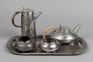 Archibald Knox, Four Piece Tea and Coffee Service with Tray, ca. 1905