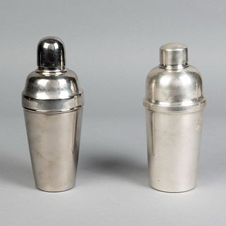 Group of Two Mid-Century Modern Silver Cocktail Shakers