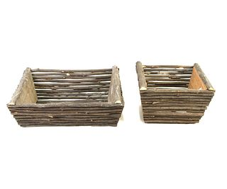 TWO WOVEN TWIG BOXES