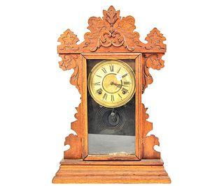 19th CENTURY WELCH CO. PRESSSED OAK MANTEL CLOCK