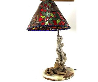 FIGURAL LAMP ON MARBLE BASE