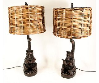 PAIR OF BEAR KNOWLEDGE LAMPS