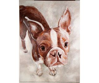 LUCY THE BOSTON TERRIER GICLEE ON CANVAS