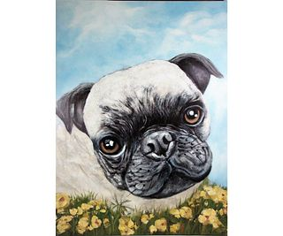 IZY BELLE THE PUG GICLEE ON CANVAS