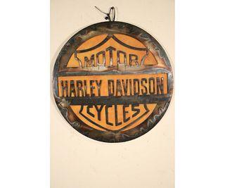 ROUND METAL HARLEY DAVIDSON SIGN