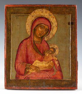 "Russian school, 19th century. ""The Virgin of the Milk"". Tempera, gold leaf on panel."