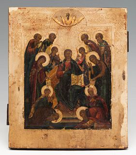 """Russian school, 18th century. """"Déesis with the allegory of the days of the week in the form of the saints. Sedmitsa"""". Tempera, gold leaf, on panel."""