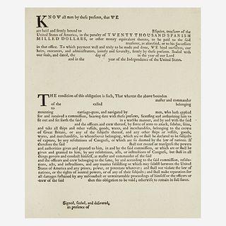 [American Revolution] [Franklin, Benjamin] Printed Privateers Bond Form