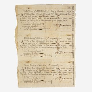 [American Revolution] Hopkinson, Francis Group of 3 Signed Financial Documents