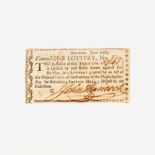 [Americana] Hancock, John Signed Lottery Ticket
